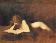 Jean-Jacques Henner Woman Reading oil painting